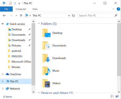 remove the Folders from This PC