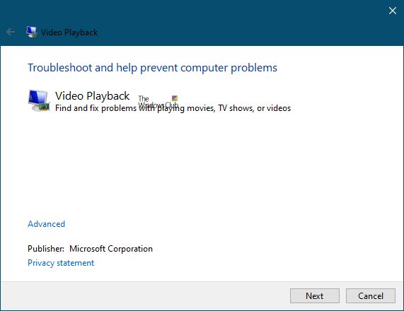 video playback troubleshooter