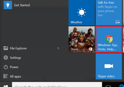 Pin a Website from Chrome to Start Menu in Windows 10 drag and drop in tiles