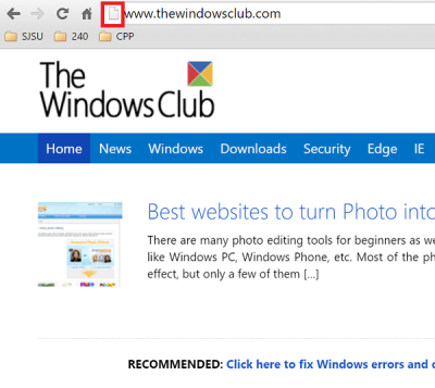 Pin a Website from Chrome to Start Menu in Windows 10 page icon