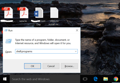 Pin a Website from Chrome to Start Menu in Windows 10 run command
