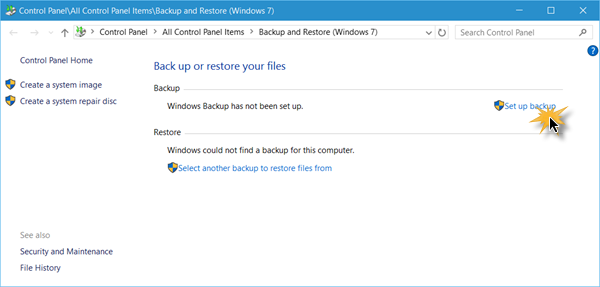 Set up Back up feature in Windows 10 1