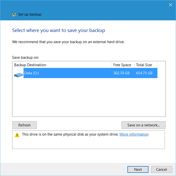 Set up Back up feature in Windows 10 2