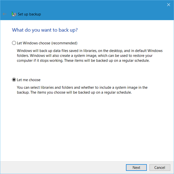 Set up Back up feature in Windows 10 3