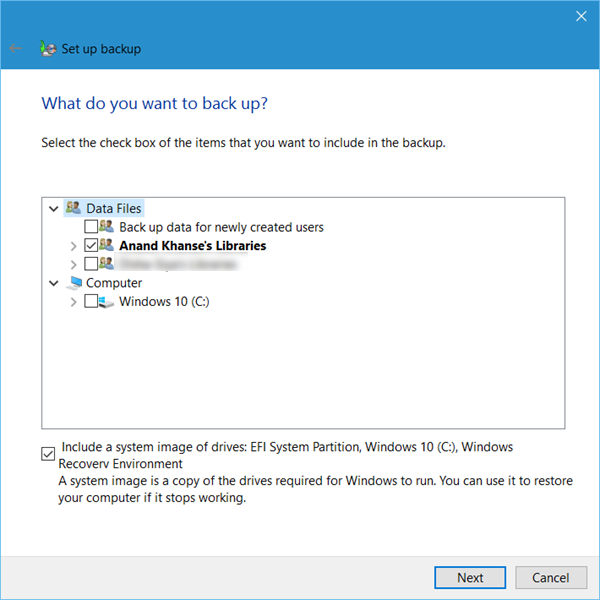 Set up Back up feature in Windows 10