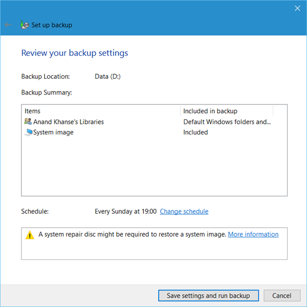 Set up Back up feature in Windows 10 5