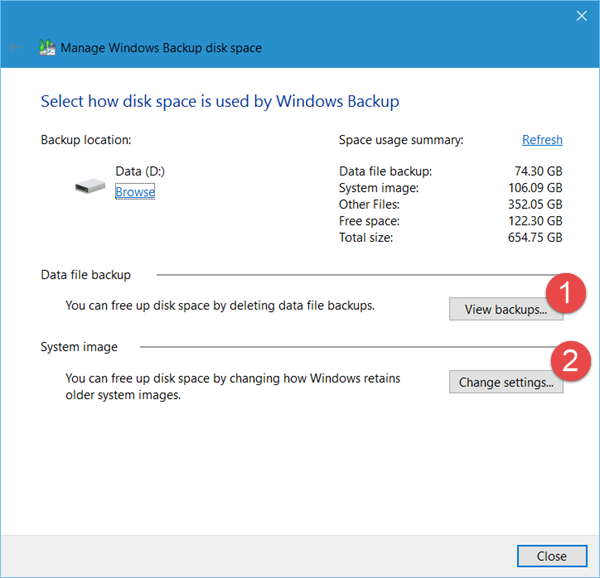 delete previous System Image backups 2