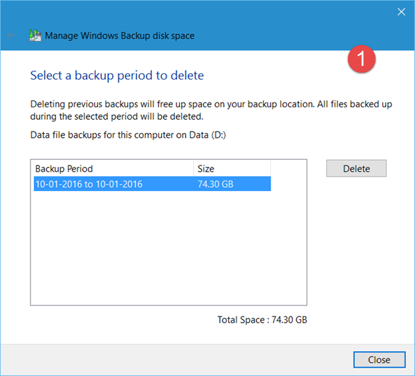 delete previous System Image backups 3
