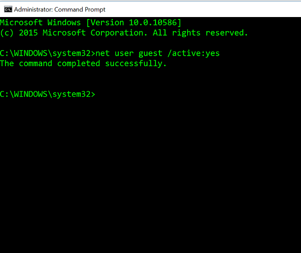 enable guest account in windows 10 from command prompt