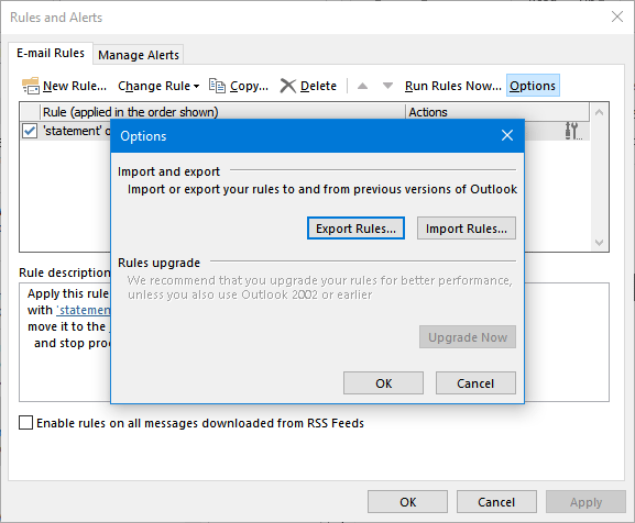 Export or Import Rules in Outlook 2016