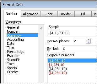 Format Number as Currency in Excel