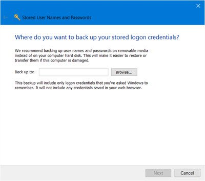 back up Stored User Names and Passwords