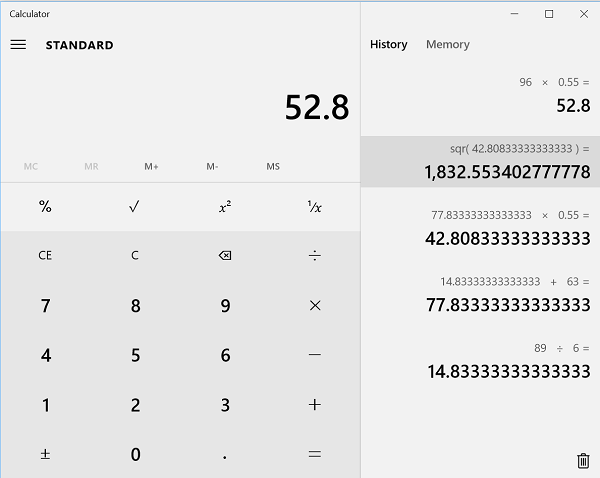 Enable History feature in Windows 10 Calculator