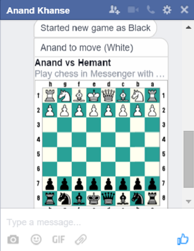 Chess game in Facebook