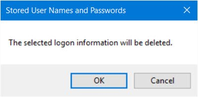 remove Stored User Names and Passwords