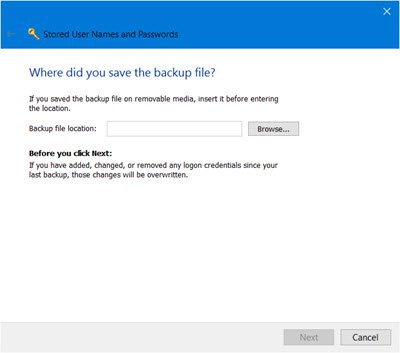 restore Stored User Names and Passwords