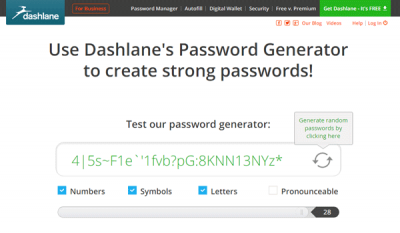 Dashlane online password generator