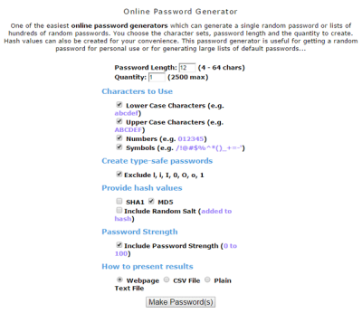 Maord online password generator