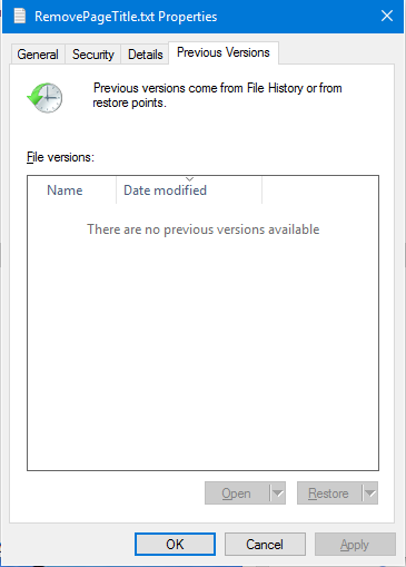 Fig 1 - Restore previous version of document in WIndows 10