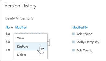 recover or restore previous versions of a file or document in OneDrive