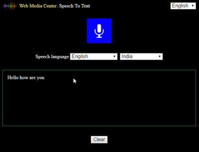 Web Media Center converting Speech To text
