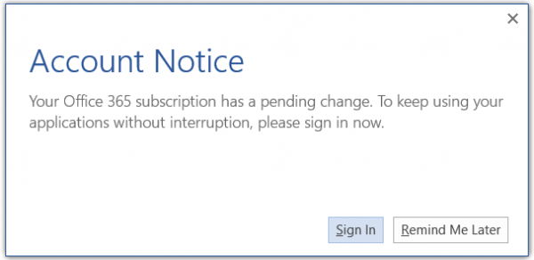 Disable Account Notice message in Office 365
