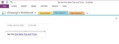 links in onenote