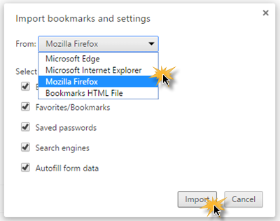 Import Bookmarks, Passwords to Chrome 2