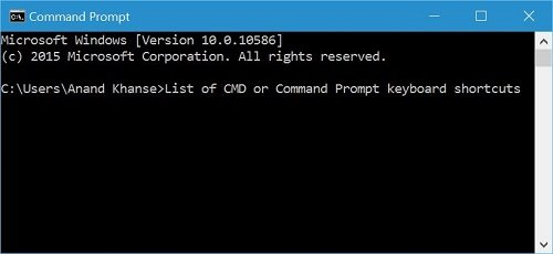 Command Prompt keyboard shortcuts