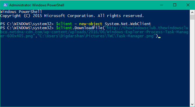 download a file using PowerShell
