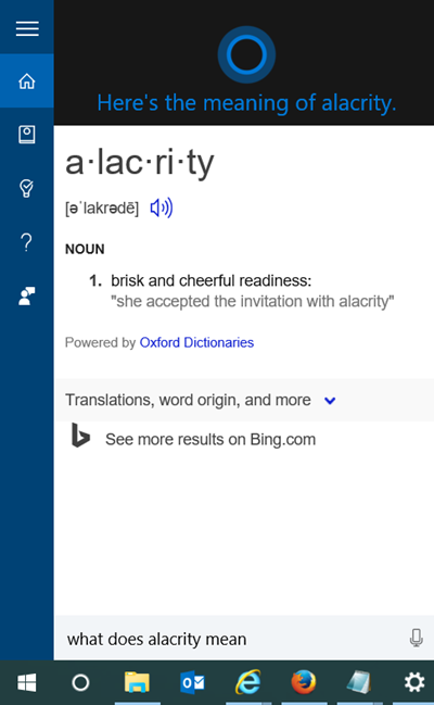 cortana dictionary windows 10