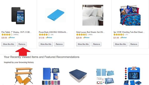 delete amazon browsing history