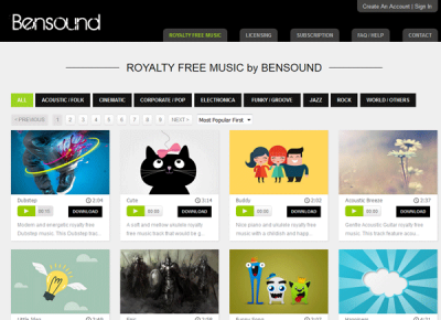 Bensound Best websites to download royalty free music for YouTube