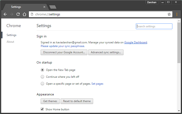 How to open Google Chrome Settings menu in a different window