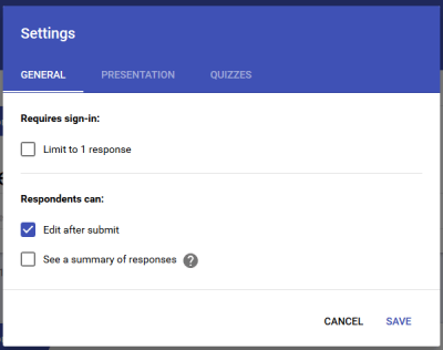 Edit response after submit in Google Forms