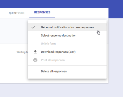 Get email notifications for new responses in Google Forms