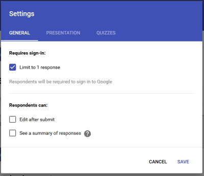 Limit to one response Google Forms tips adn Tricks