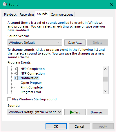 How to set custom notification sound in Windows 10