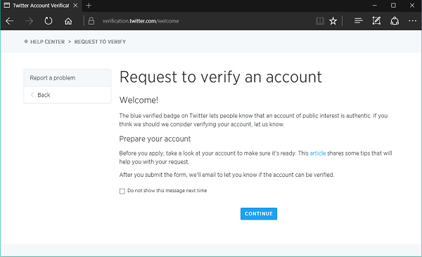 Get your Twitter Account verified