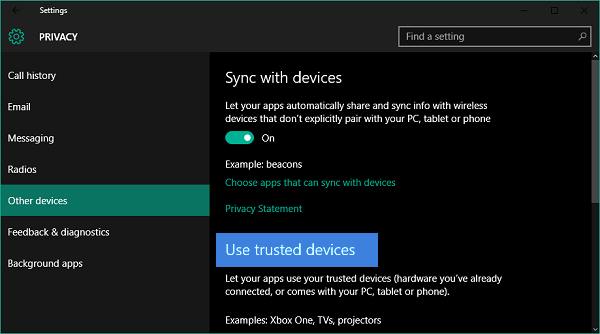 How to let apps use your trusted devices in Windows 10