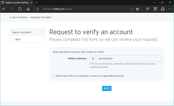 How to submit a request to verify your Twitter Account