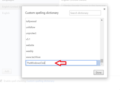 add word to chrome spelling dictionary