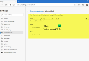 manage flash in edge browser