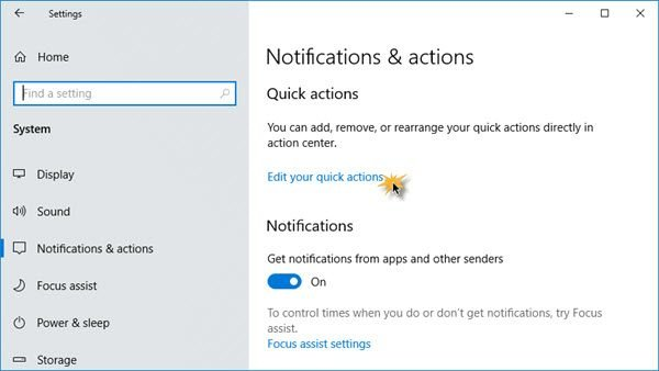 Arrange Quick Action Buttons in Windows 10
