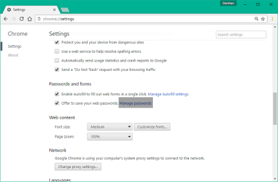 export and import passwords in Chrome browser
