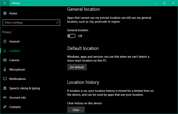 Set the default location of your PC windows 10