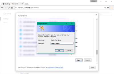 How to export and import passwords in Chrome browser