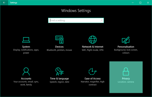 How to set default location for apps and services in Windows 10