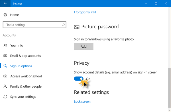 Remove email address from Windows 10 login screen