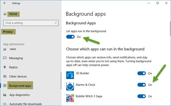 Stop Windows 10 apps from running in the background